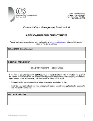 Fillable Online Care and Case Management Services Ltd - CCMS Fax ...