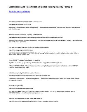 Fillable Online snf medicare certification form free pdf ...