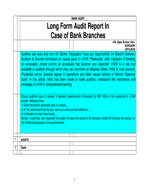 Long Form Audit Report In Case of Bank Branches - the