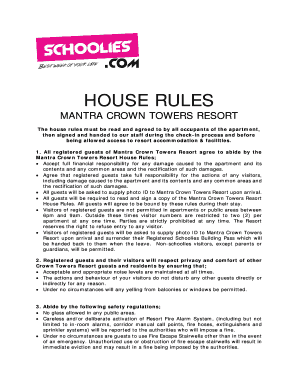 house rules - Schoolies com Fill Online, Printable, Fillable
