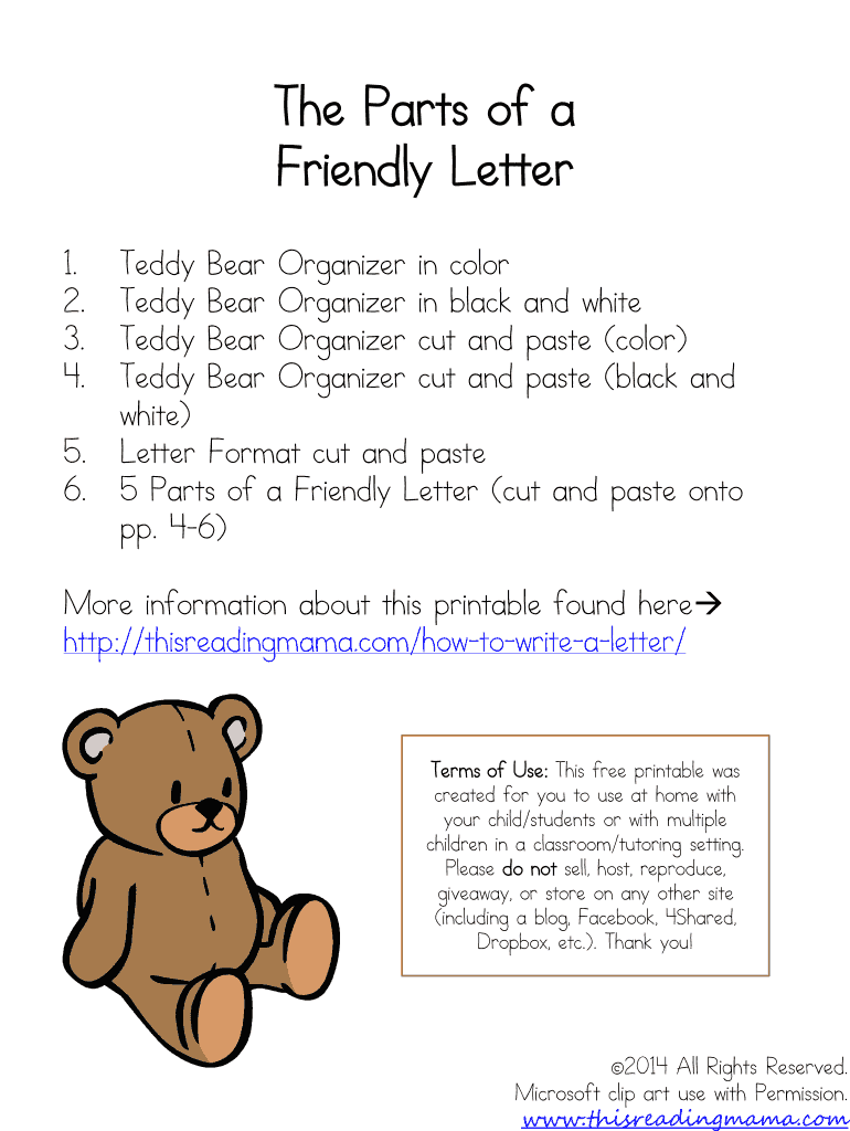 The Parts Of A Friendly Letter This Reading Mama Fill Online