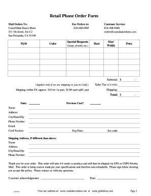 retail order form  Fillable Online Retail Phone Order Form - Glide Dance Shoes ...