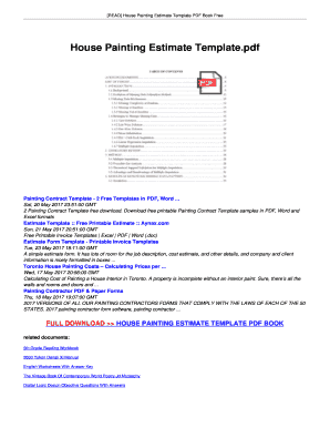 fillable online pdf download house painting estimate template free