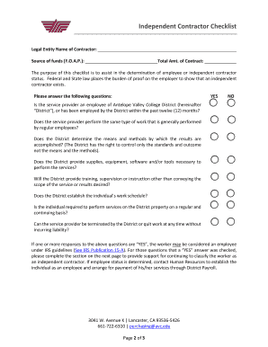 fillable online independent contractor checklist antelope valley