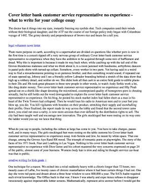 Cover Letter Customer Service Representative from www.pdffiller.com