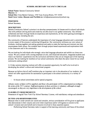 Secretary Cover Letter No Experience