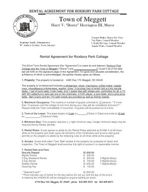 Fillable Online Rental Agreement For Roxbury Park Cottage