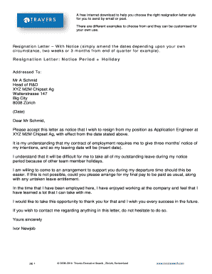 Fillable Online Resignation Letter: Notice Period + Holiday ...