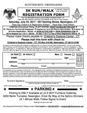 Fillable Online 5k Registration Form Templatexlsx Valley Of