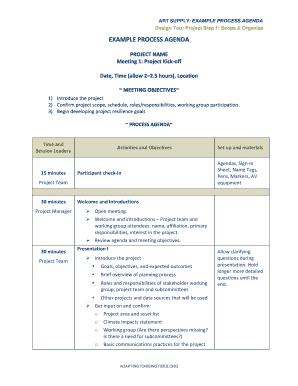 examples of agendas