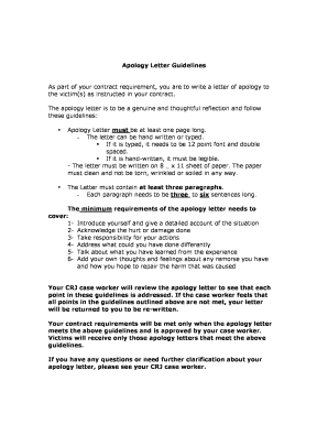 apology letter guidelines