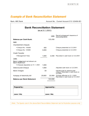 bank reconciliation example pdf forms and templates fillable