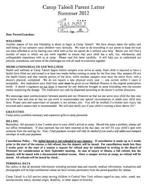 Camp Talooli Parent Letter Fill Online, Printable, Fillable