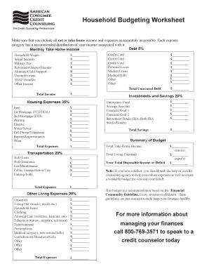 Fillable free household budget worksheet pdf - Download Budget ...