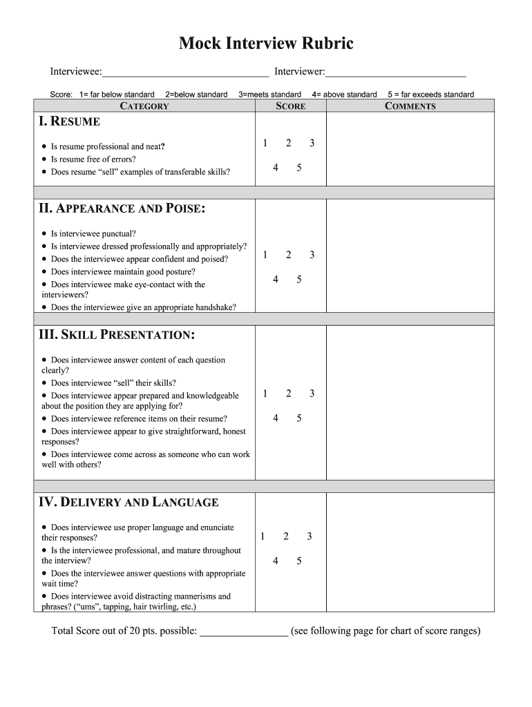 mock interview rubric  fill and sign printable template
