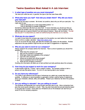 Why Did You Leave Your Last Job Answer. Twelve Questions Most Asked In A Job  Interview.doc