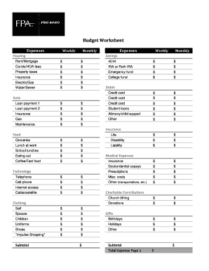 fillable online fpa budget worksheet pdf foundation for