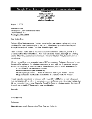 Fillable Online Sample Cover Letter With Personal Recommendation Fax Email Print Pdffiller