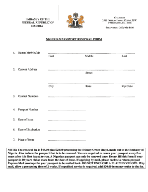 Fillable Online NIGERIAN PASSPORT RENEWAL FORM Fax Email Print ...