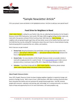 sample newsletter article