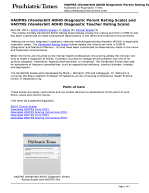 Vadprs Vanderbilt Adhd Diagnostic Parent Rating Scale And Fill