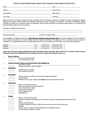 Fillable Online HINTON CHASE HOMEOWNERS ASSOCIATION - REQUEST FOR ...