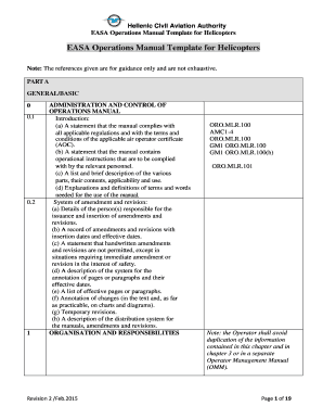 fillable online easa operations manual template for helicopters fax rh pdffiller com Business Operations Manual Employee Manual Template