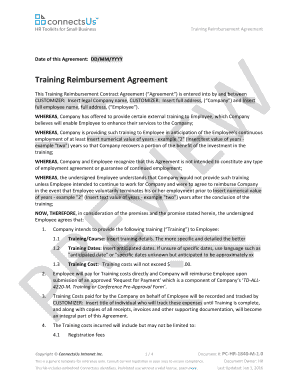 Fillable Online Training Reimbursement Agreement Connectsus Hr Fax