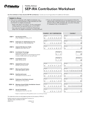 Fillable Online Sep Ira Contribution Worksheet Fax Email Print Pdffiller