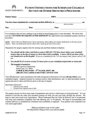 Editable cesarean section procedure - Fillable & Printable
