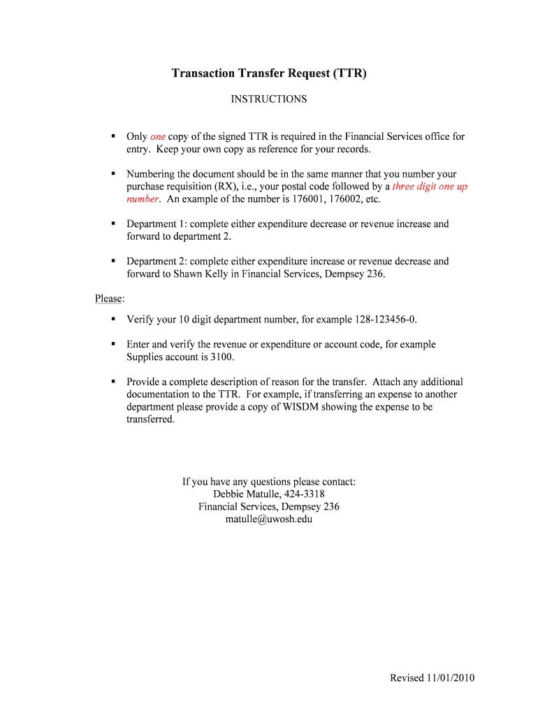Transaction Transfer Request (TTR) Fill Online, Printable