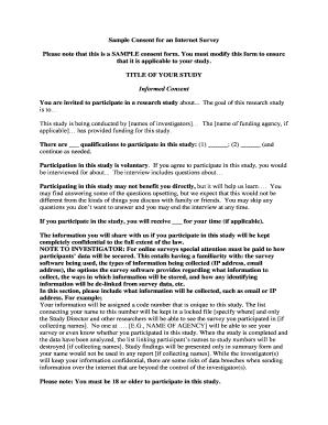 Fillable sample informed consent form for survey edit online sample consent for an internet survey altavistaventures Gallery