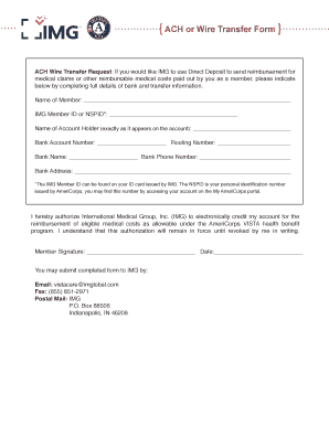 Ach Wire Transfer   Fillable Online Ach Or Wire Transfer Form Americorps Vista