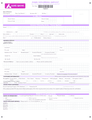 axis bank deposit form  Fillable Online Fixed Deposit Account Opening Form - Axis ...