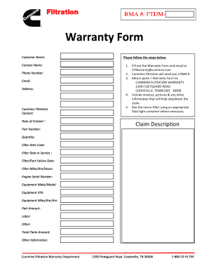 Customer RMA Form Template  Customer Form Template