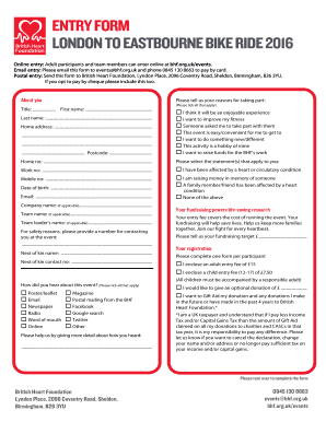 Digital event registration form template - British Heart Foundation