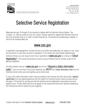 Fillable Online Selective Service Registration Century Edu Fax Email Print Pdffiller