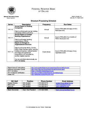 Fillable Online Structure Processing Schedule - Dallas Fed
