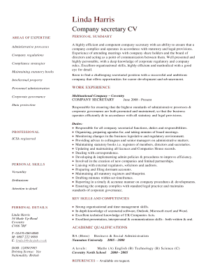 Company secretary CV template. Free CV resume of a company secretary candidate listing their areas of expertise and experience.