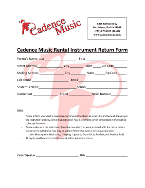 Fillable Online to download a rental instrument return form