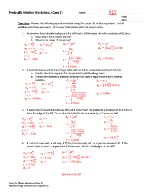Fillable Online Projectile Motion Worksheet (Case 1) Fax ...