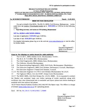 Fillable Online BHARAT SANCHAR NIGAM LIMITED (A Govt  of