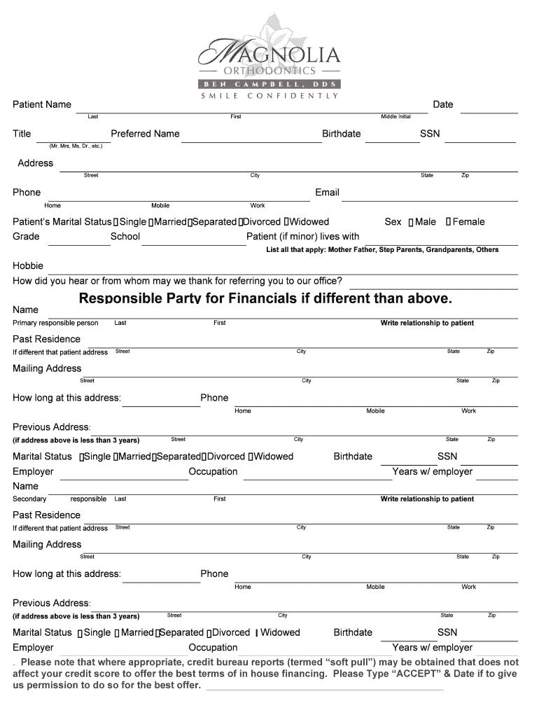 patient demographics  u0026 medical history  pdf fillable form