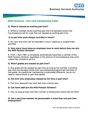 Nhs Pension Opt Out >> Fillable Online Nhs Pensions Part Time Membership Faqs Fax