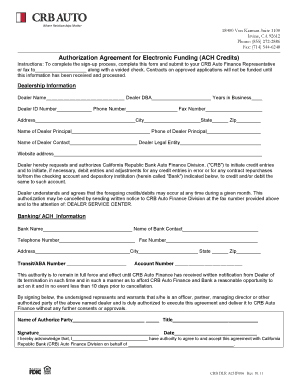 Fillable Online Authorization Agreement For Electronic Funding Ach