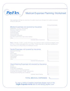 fillable online medical expenses planning worksheet payflex fax