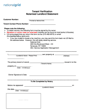 Fillable Online Tenant Verification Notarized Landlord Statement Fax ...