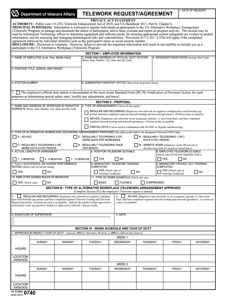 Fillable Online Va Form 0740 Telework Request Agreement
