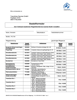 Bestellung - TransCare Service GmbH Fill Online, Printable, Fillable ...
