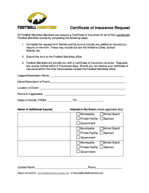 Football certificate templates edit fill out online for Certificate of insurance request form template